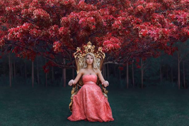 fantasy concept of queen sitting on the throne in magical forest - tron zdjęcia i obrazy z banku zdjęć
