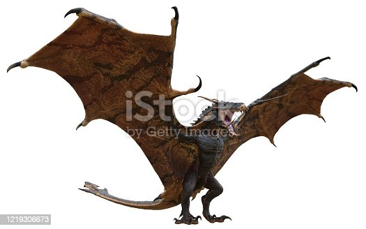 istock Fantasy dragon isolated on white 3d illustration 1219306673