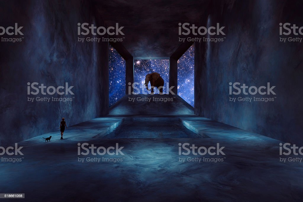 Fantasy elephant walking in spaceship stock photo