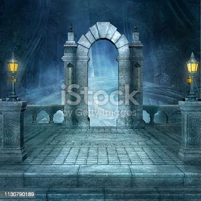 914134406 istock photo Fantasy entrance to the dark forest 1130790189