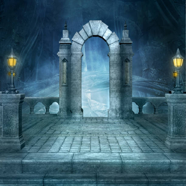 fantasy entrance to the dark forest - gothic style stock pictures, royalty-free photos & images