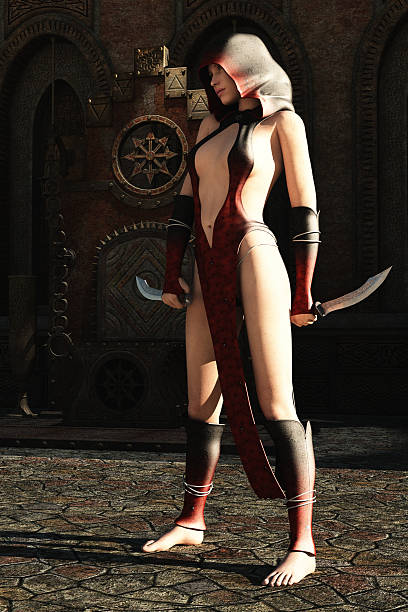 Fantasy female assassin and empty throne stock photo