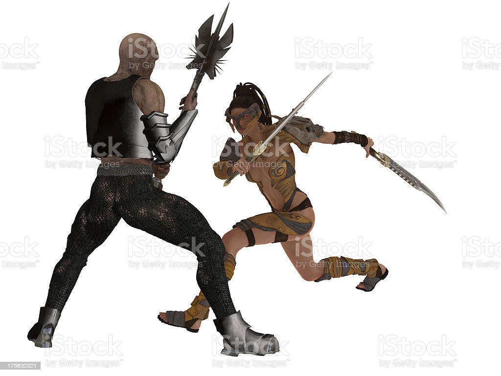 Fantasy female warrior faces goblin stock photo