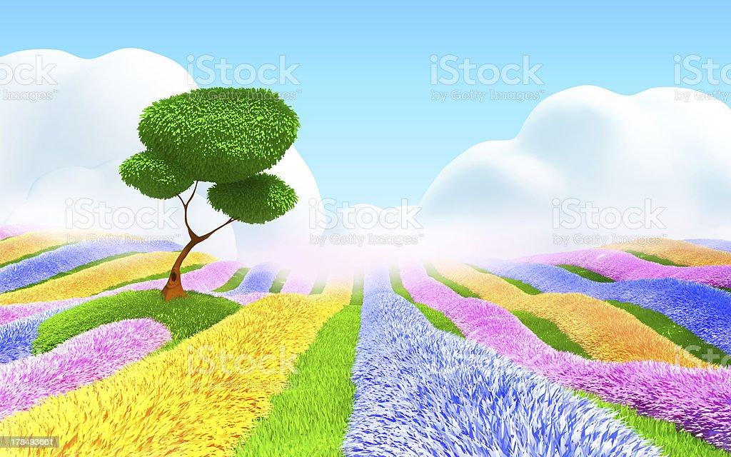 fantasy floral landscape stock photo