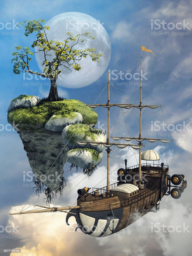Fantasy flying ship and island stock photo