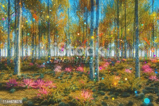 Fantasy forest. This is entirely 3D generated image with a paint over.