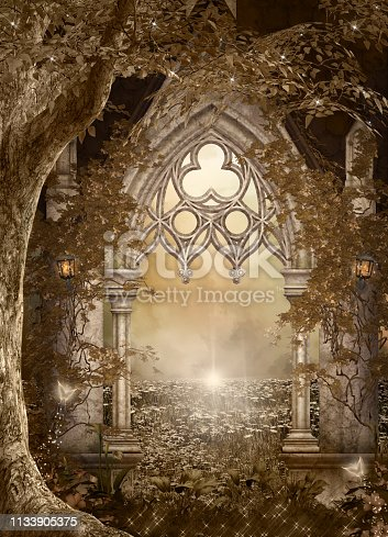 914134406 istock photo Fantasy gateway to the enchanted forest 1133905375
