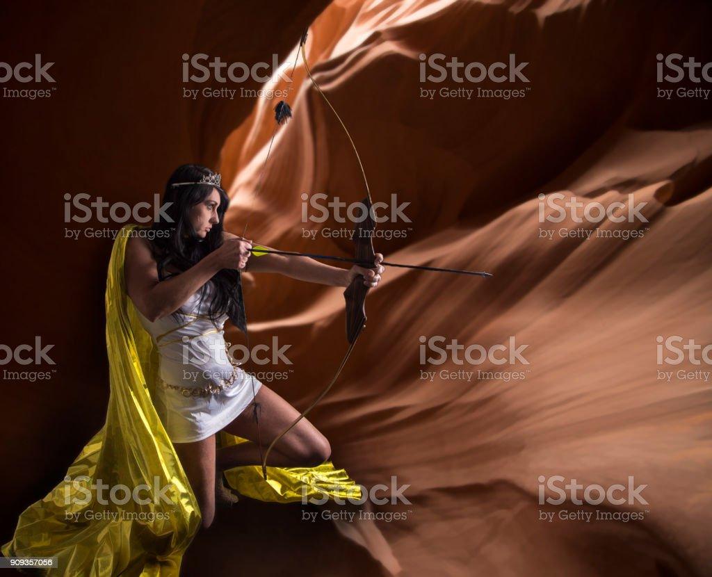 Fantasy Goddess Hunting in Arizona Slot Canyons stock photo
