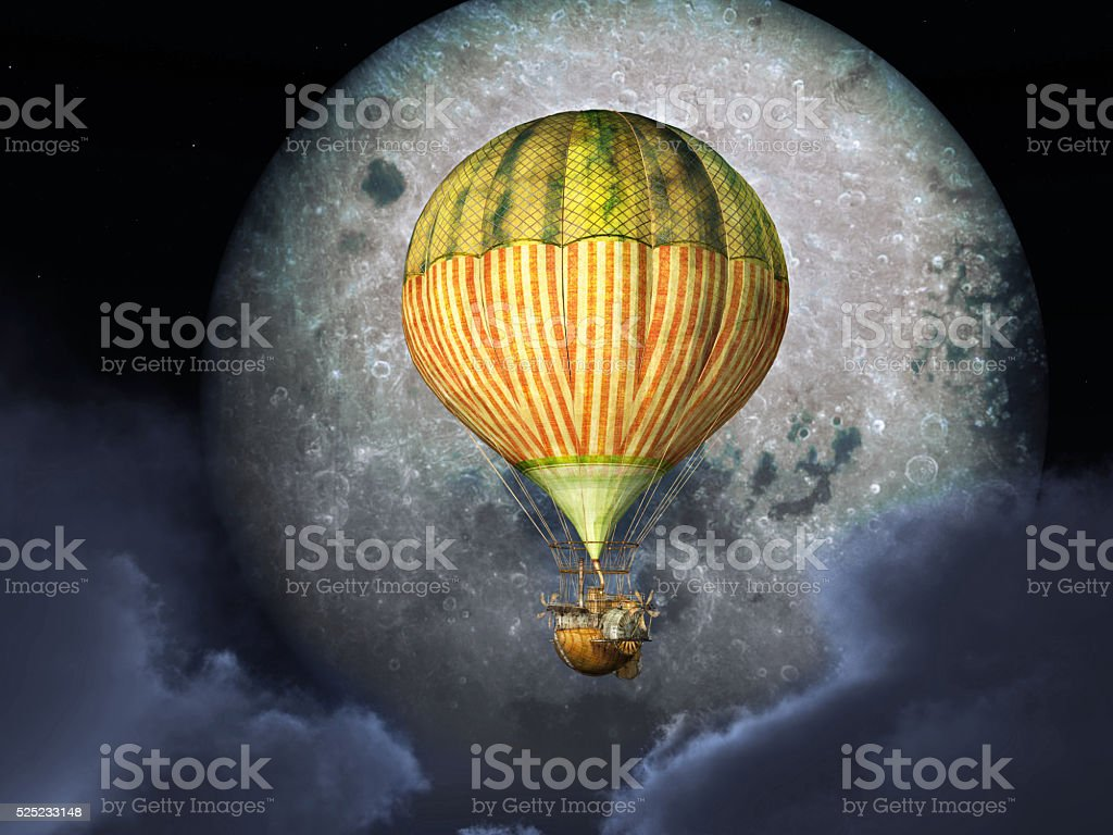 Fantasy hot air balloon in front of the moon stock photo