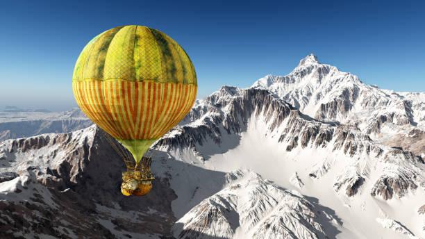 fantasie-heißluftballon über die berge - eis ballons stock-fotos und bilder