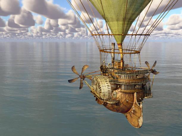 Fantasy hot air balloon over the sea stock photo