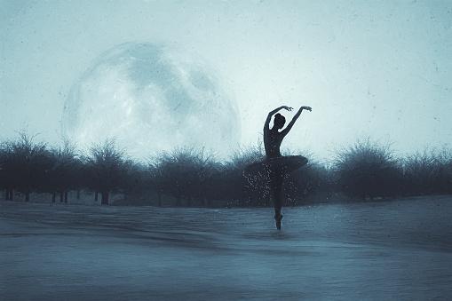 Fantasy image of ballet dancing in the moonlight
