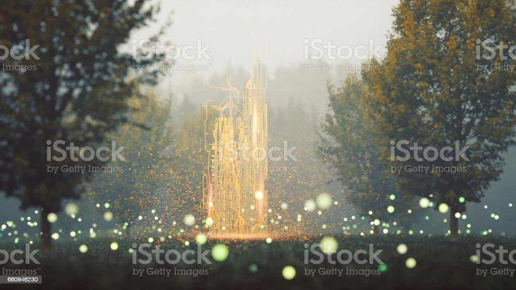 Imagem de fantasia da misteriosa floresta - foto de acervo