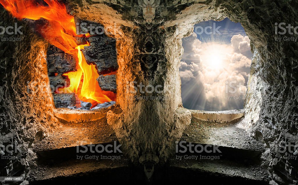 Fantasy image of two windows depicting heaven and hell stock photo
