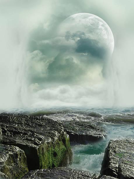 fantasy landschaft - sternmoos stock-fotos und bilder