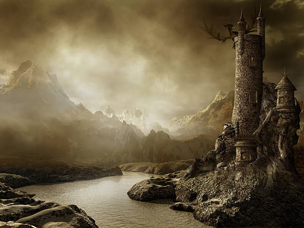 fantasy landscape with a tower - fantasy stock photos and pictures
