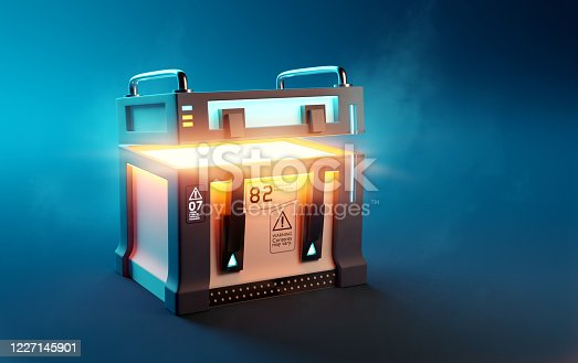 Fantasy Futuristic mystery loot box case opening up to reveal its surprise contents. 3D illustration.