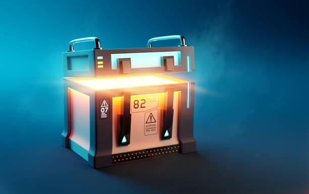 Fantasy Loot Box Futuristic Mystery Case stock photo