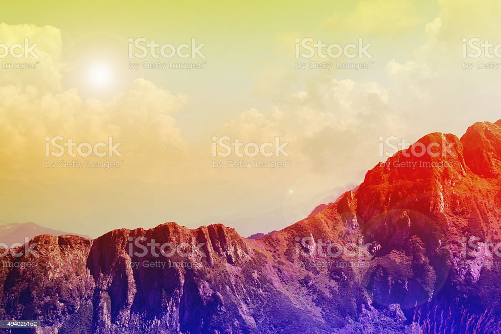 fantasy mountain landscape with clouds royalty-free stock photo