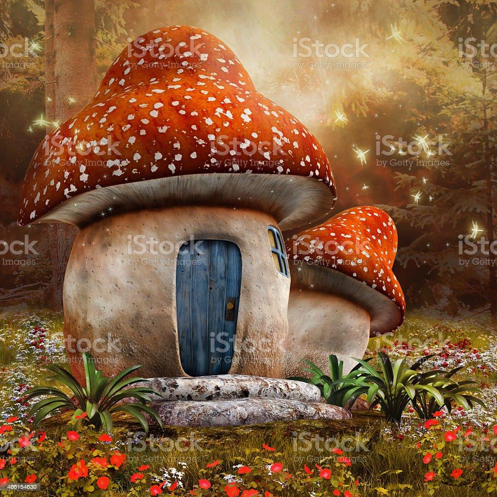 Fantasy mushroom cottage stock photo