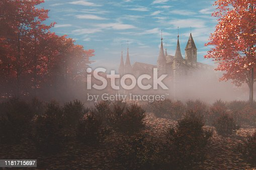 Fantasy old castle in the forest. This is entirely 3D generated image. Castle model is generic in architecture and modelling and isn't a replica of any real castle.