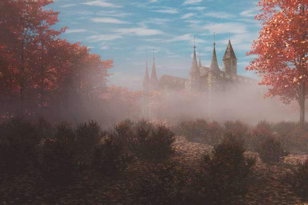 Fantasy old castle in the forest stock photo