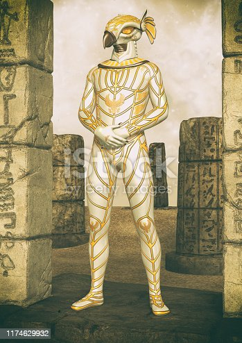 istock A fantasy portrait of an Egyptian god. 1174629932