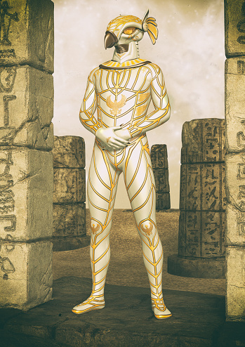 istock A fantasy portrait of an Egyptian god. 1174629932