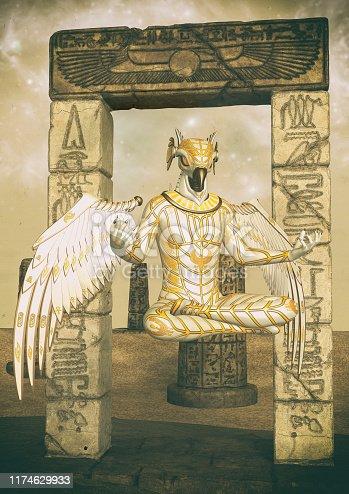 istock A fantasy portrait of an Egyptian god. 1174629933