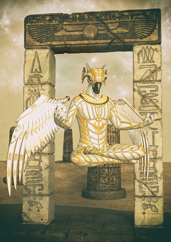 istock A fantasy portrait of an Egyptian god. 1174629933