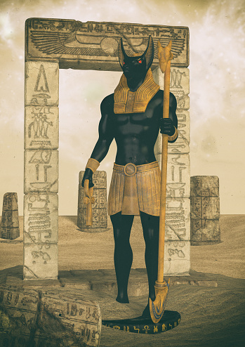 istock A fantasy portrait of an Egyptian god. 1174629936