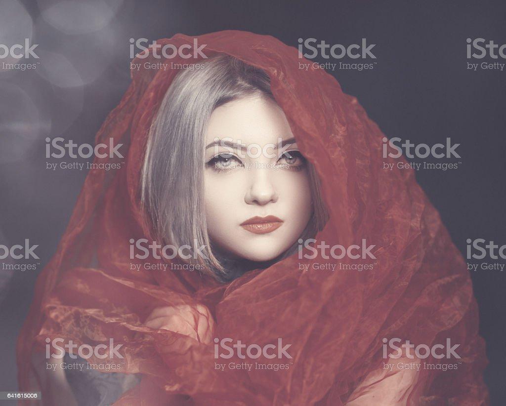 fantasy red riding hood stock photo
