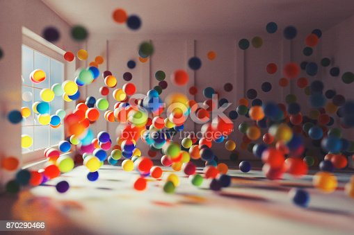istock Fantasy room full of glass spheres 870290466