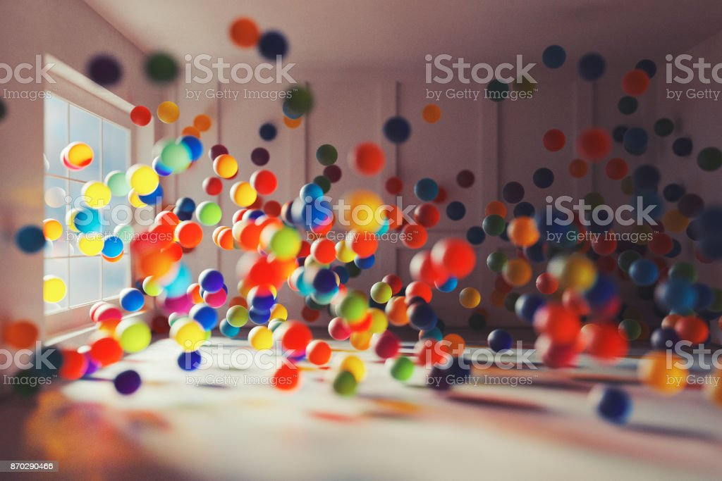 Fantasy room full of glass spheres stock photo