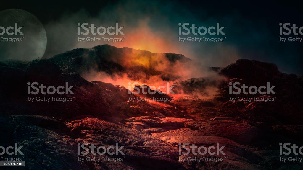 Fantasy scene of active volcano. stock photo