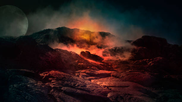 fantasy scene of active volcano. - wulkan czynny zdjęcia i obrazy z banku zdjęć