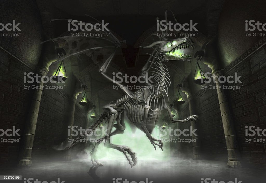 Fantasy skeletal dragon in a dungeon stock photo