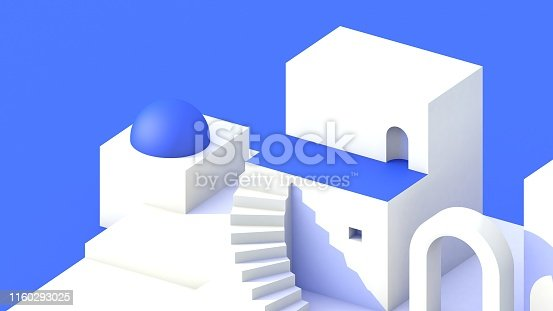 Fantasy Southern Greek style architectural scene in White and blue colors. Santorini style abstract background 3d render