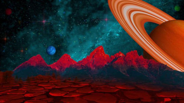 Fantasy Space Scene - Alien Planet, Saturn, Nebula stock photo