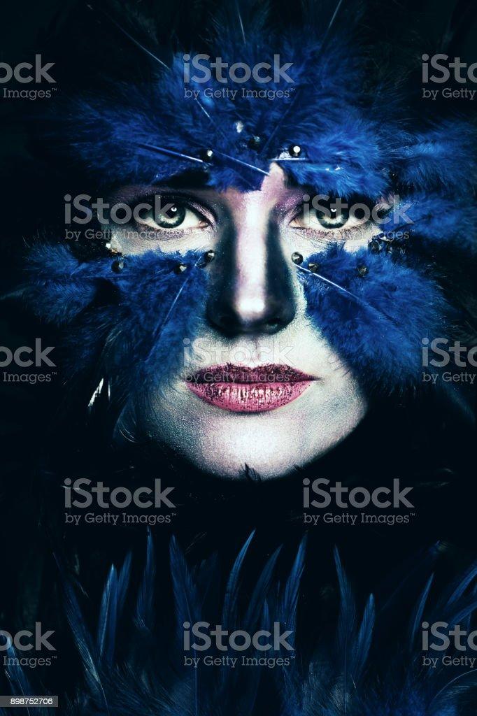 Fantasy Stage Makeup Woman With Art Makeup Blue Bird Face Stock