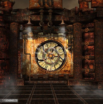 Steampunk background with a smoking turbine