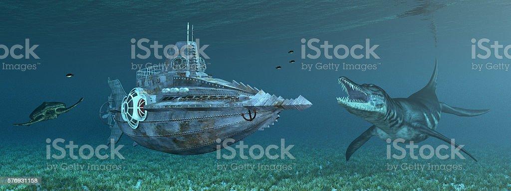 Fantasy submarine and marine wildlife stock photo