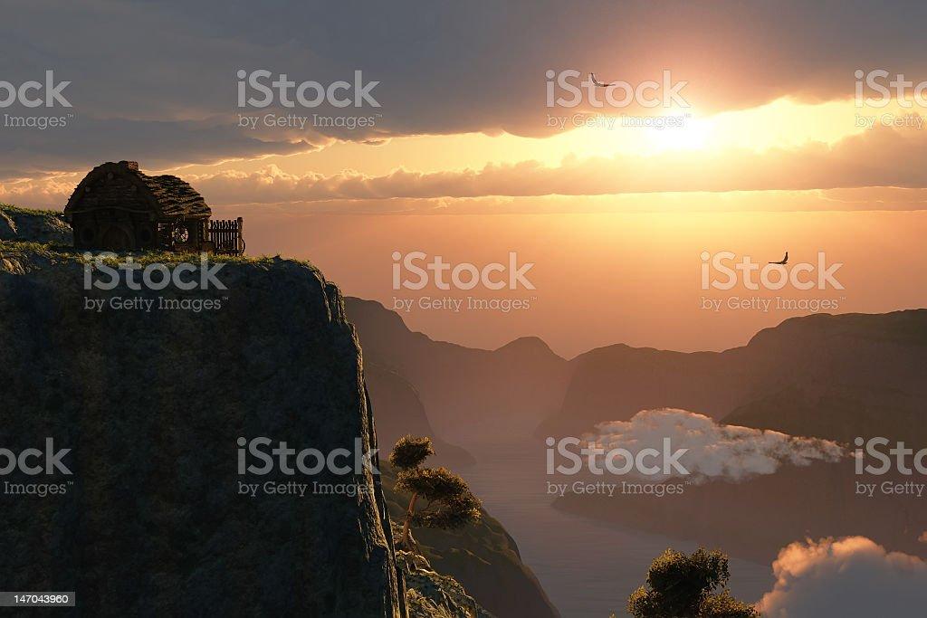 fantasy sunset on canyon edge royalty-free stock photo