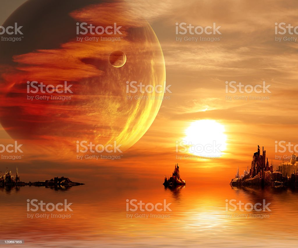 Fantasy sunset stock photo
