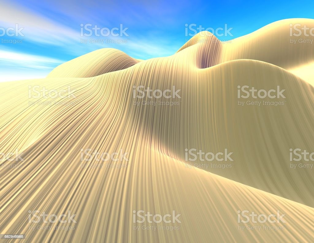 Fantasy surreal 3d landscape, dunes and blue sky. royalty-free stock photo