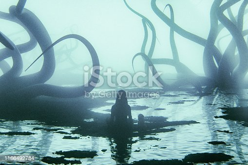 Fantasy tentacles against young woman, added noise, grunge style. This is entirely 3D generate image.