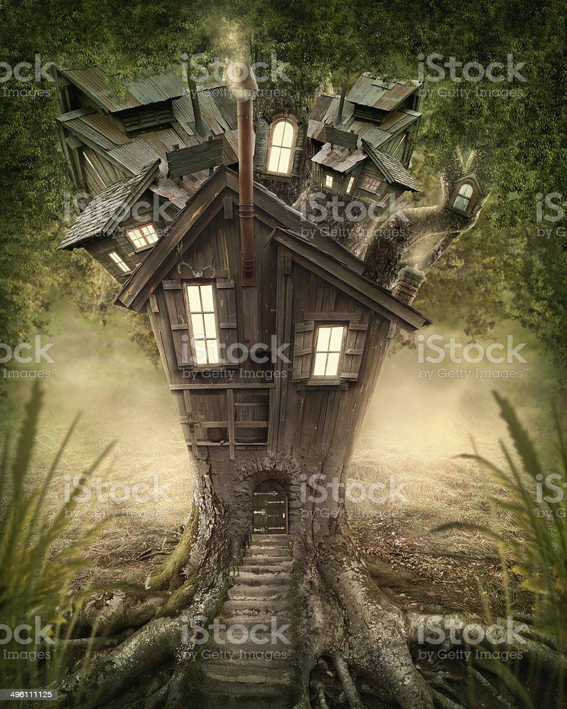 Fantasy tree house stock photo