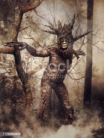 Fantasy tree man walking in a dark foggy forest among shrubs. 3D render.