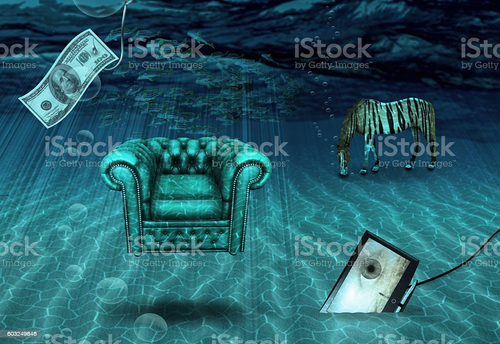 Fantasy Underwater scene stock photo