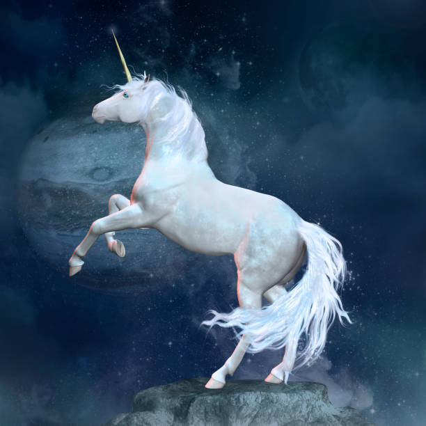 fantasy unicorn over a rock - unicorns stock photos and pictures